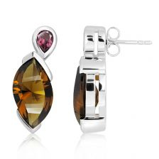 Cognac Quartz Silver Stud Earrings - CE0023CG