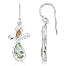 Green Prasiolite Silver Hook Earrings - CE3741GP