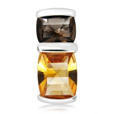 Citrine and Smoky Quartz Silver Pendant - CP0531GC