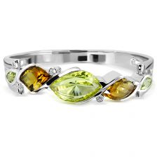 Lemon Citrine and Cognac Quartz Silver Bangle - CB0021GG