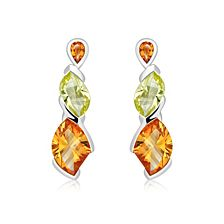 Citrine and Lemon Citrine Silver Stud Earrings - CE0022GC