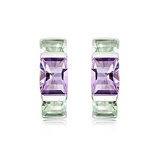Amethyst and Green Prasiolite Silver Huggie Earrings - CE0531AM