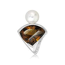 Cognac Quartz and Pearl Silver Limited Pendant - CP0941CG